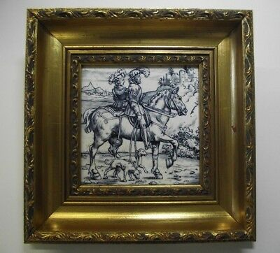Antique Minton Walbrook Blue & White Tile Squire and Lady on Horse. Hunting Dogs