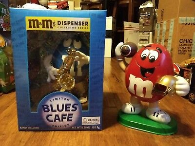 M&M's Limited Blues Cafe And Red W/ Football Candy Dispensers Vintage