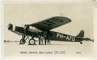 Klm - Fokker F.xii - Old Real Photo Postcard View