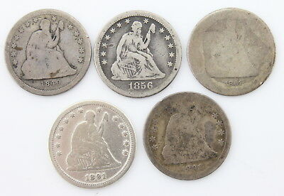 Lot Of 5 U.s. Seated Liberty Silver Quarter Coins 1840 1856-O 1861 1891 Nr #3424