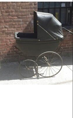 Late 1800's Antique Vintage Stroller Baby Carriage Wicker Buggy