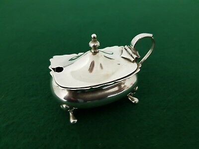 Antique HM 1904 Solid Sterling Silver 85 mm Mustard Pot with Blue Glass Liner