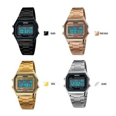 SKMEI Men Women Watch LED Digital Display Stainless Steel Band Casual Wristwatch