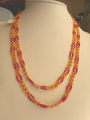 "Navajo Indian Bead work Necklace Sioux Native American 23"" long Red & Yellow Gls"