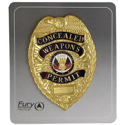 FURY Tactical Concealed Weapons Permit Badge Gold