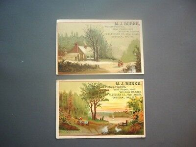 Two Victorian trade cards for M.J. Burke Co., Utica NY wallpaper, frames, etc.