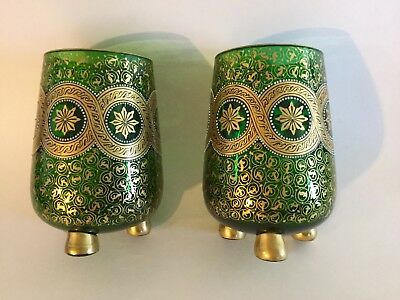 Antique Moser Pair Large Cups,green Color Glass Gold & Enamel Decoration,beauty