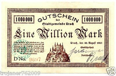 R !!! 1 000 000 MARK - aus URACH - 1923 !!!!!