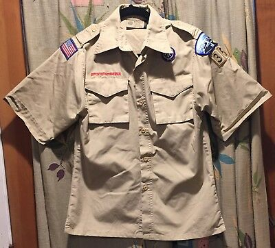 BOY SCOUTS OF AMERICA SHIRT, SZ Youth Large,Short Sleeve, Beige, khaki, BSA