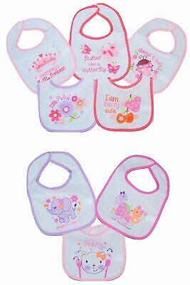 Baby Girls Bibs Feeding Dribble 3 and 5 PACK