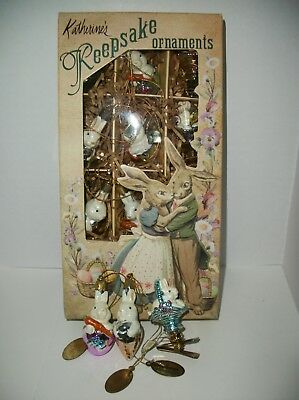 12 Easter Bunny Ornaments Katherine's Keepsake Collection~in Box~clip ons~2002
