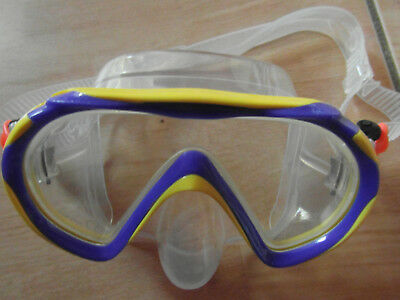 Kinder Taucherbrille gelb/blau/transparent