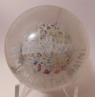 """RARE ANTIQUE Millville Frit """"REMEMBER THE MAINE"""" Art Glass Paperweight"""