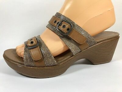 f64e624423fb Dansko Jessie Sand Brown Leather Slide Sandals Womens 8.5 Eu 39 Lizard