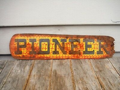 VINTAGE 1940's PIONEER SEED CORN TIN TACKER SIGN NICE NR! Dekalb Great Graphics!
