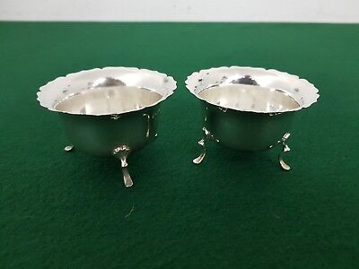 Pair of Antique 1913 J Rodgers Solid Sterling Silver Mustard or Condiment Pots