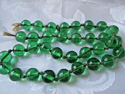 Green Glass Strand Beads Strung And Tied Off--Double Knotted Old? Stock?
