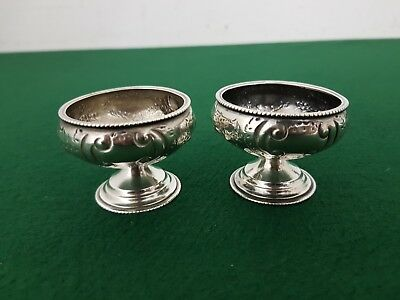 Pair of 50 mm Antique Solid Sterling Silver Mustard Salt or Condiment Pots