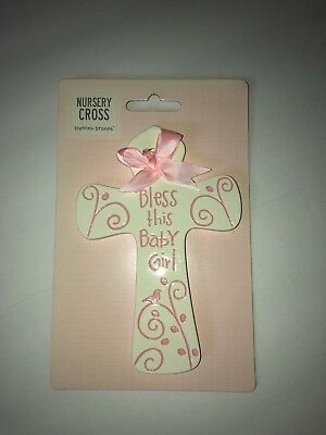 Nursery Cross Stepping Stones Bless This Baby Girl Pink And White New