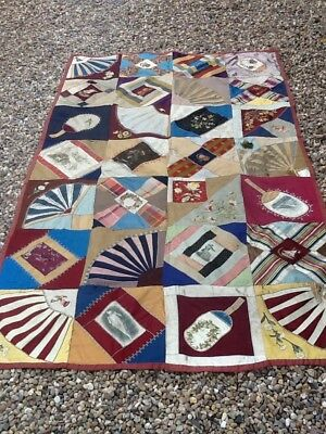 Victorian Patchwork Quilt In Silks And Satins With Embroidery Detail Etc.
