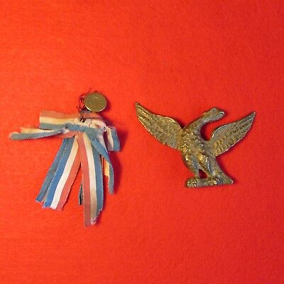 Rare 1876 Eagle Hat Pin Flag Ribbon & Button Medal Indian Wars Era Centennial