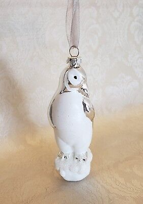 """Silver & White Frosted Penguin Blown Glass Christmas Ornament 5"""""""