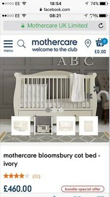 Mothercare cot bed and mattress