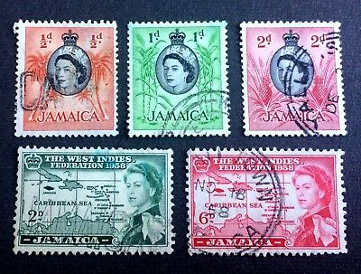 Jamaica 1958 - 5 old used stamps