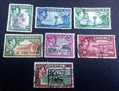 Jamaica 1938-1952 - 7 old used stamps King Georg VI.
