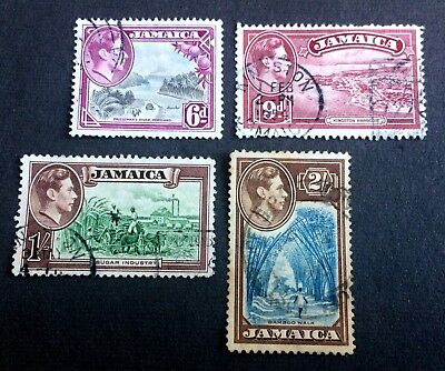 Jamaica 1938-1952 - 4 old used stamps King Georg VI.