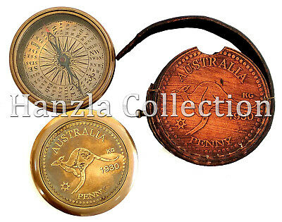 """3"""" Antique Brass AUSTRALIA PENNY Compass Waltzing Matilda Poem With Leather Case"""