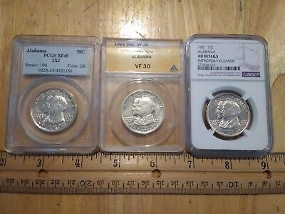 1921 Alabama Commemorative Lot PCGS 2 X 2  XF 45 ANACS VF 30 NGC AU Details