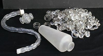 A Quantity of Old Glass Chandelier Parts