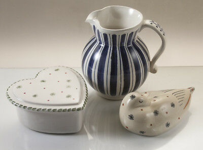 Rye studio pottery hand painted group of Milk Jug, Heart Shaped Box and Duck