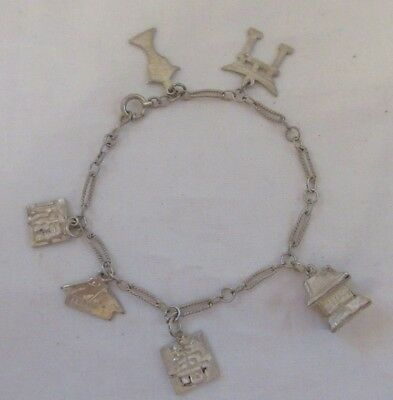 Vintage Chinese Japanese Asian STERLING SILVER 6 Charm Bracelet 7 Inches
