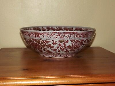 Chinese Red And White Bowl
