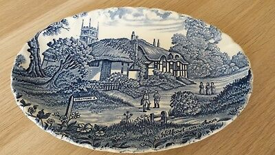 """""""ridgway"""" blue and white oval plate"""