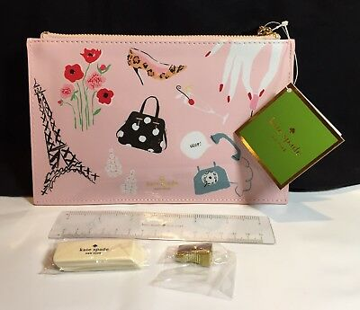 KATE SPADE New York,  PENCIL POUCH, PARIS, with Tag, Pink, zipper