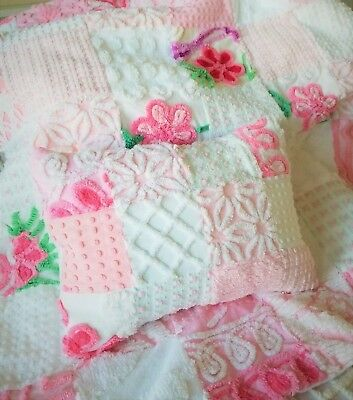 Beautiful Baby Girl Quilt With Matching Pillow Vintage Chenille