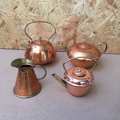 4 x Vintage Miniature Copper  - Kettles, Jug, Tea Pot
