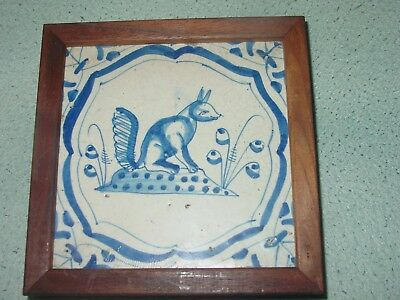 Antique Framed Delft Blue and White Pottery Tile of Fox