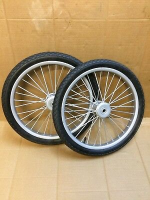 Pair Metal Cart Wheels, with bmx 20 inch tyres. suit light Sulky or Hand cart.