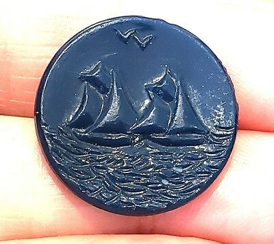 Vintage Button…Dark Blue Glass with Sailboats, Water, Birds