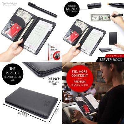 Server Book for Waitress Waiter and Waitstaff - Black Wallet Organizer - Perfect