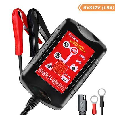 6V/12V 1.5A Smart Battery Charger Fully Automatic For Motorcycle Car Tractor NEW