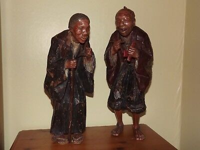 Pair Of Japanese Carved Wood Figures