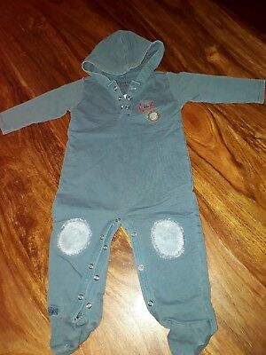 Baby boy hooded romper/ one piece outfit/ jumpsuit  Size 6-12 Months