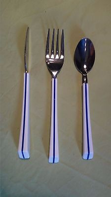 AIR FRANCE cutlery VINTAGE  knife  forks & spoons Stainless WHITE- BLUE