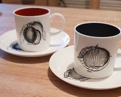 Susie Cooper Black Fruits coffee cups & saucers x 2