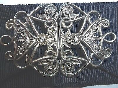 Silver Nurses Buckle on Petersham Belt Chester Hallmarked  for 1903